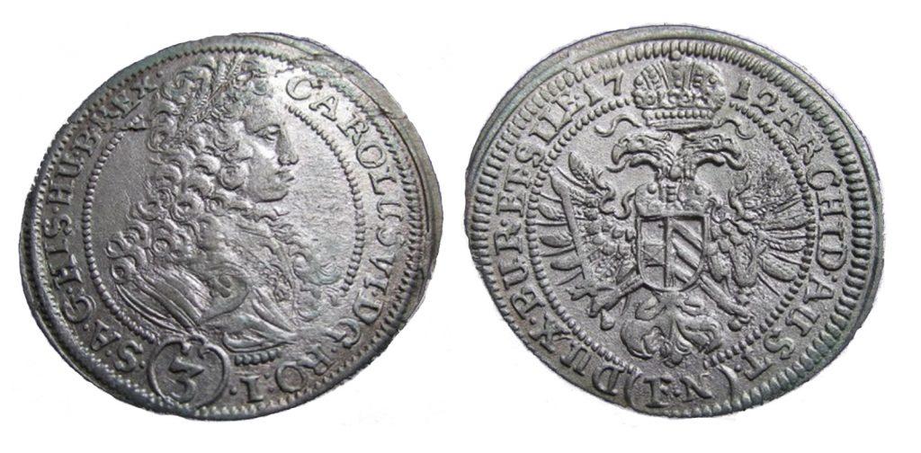 3 krajcary 1712 Karol VI